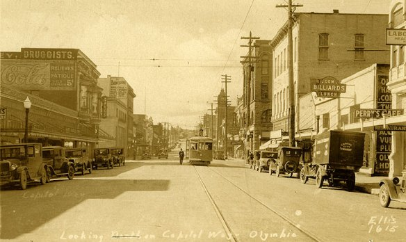 Capitol Way Olympia WA looking south - Crombie's is on the left
