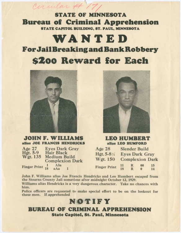 L Humbert and J Williams Wanted Poster