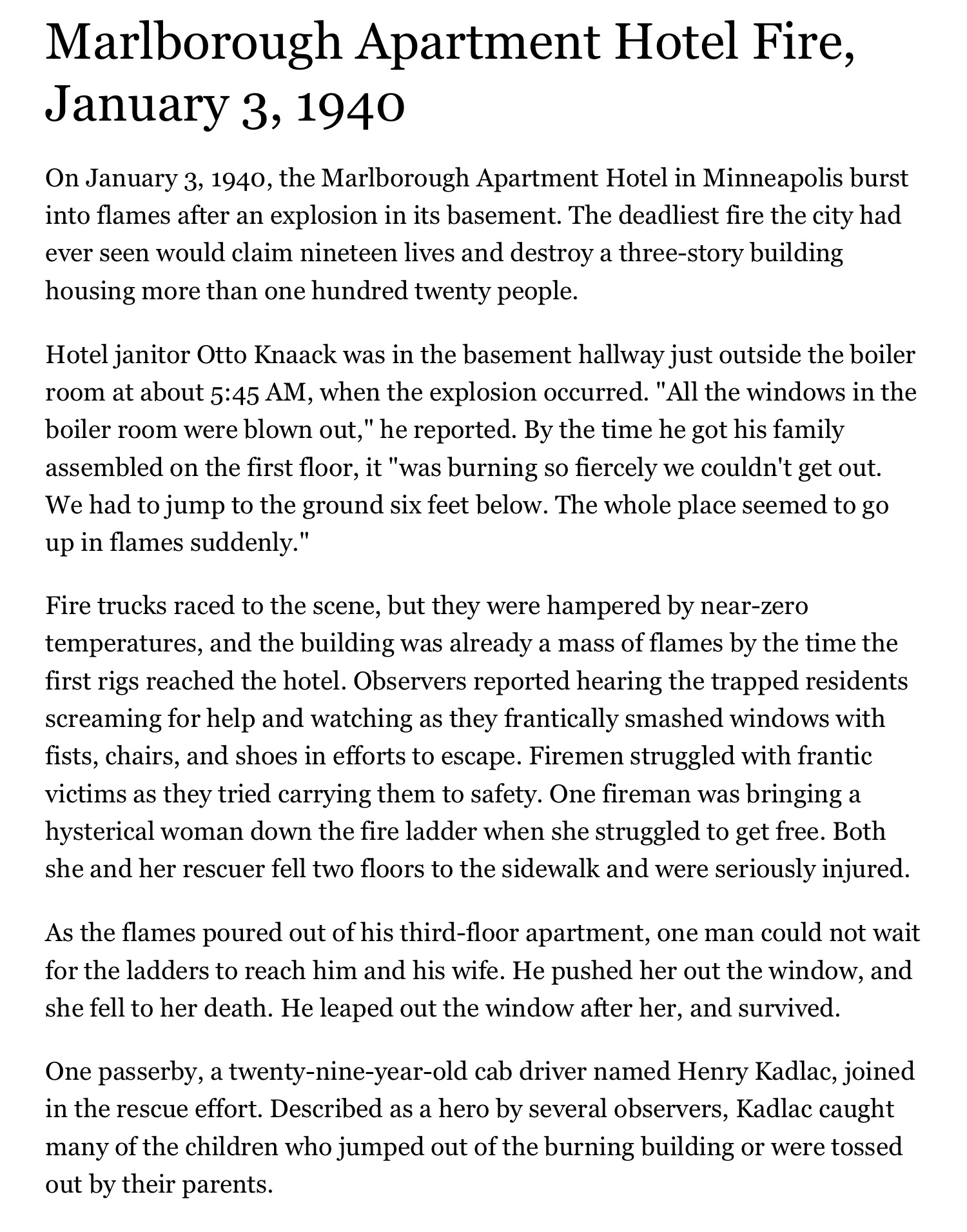 Marlborough Apartment Hotel Fire, January 3, 1940 | MNopedia - 1