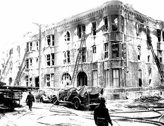 Marlborough hotel fire from street