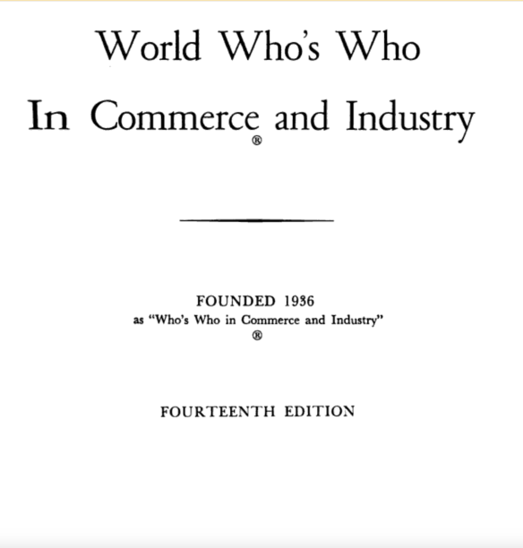 Inside Title Page Who's Who
